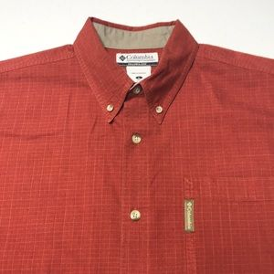 COLUMBIA Men's Red Large Long Sleeve Cotton Shirt